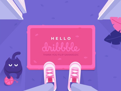 Hello dribbble ! front door illustration illustrator yarn sneakers shoes cat door mat doormat welcome dribbble first shot hello dribbble