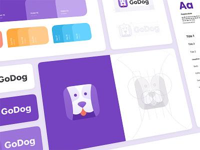 Logo and Branding for GoDog app brandbook dog logo dog face dog styleguide goldenratio app logo design app icon brand design brand identity branding logodesign logo
