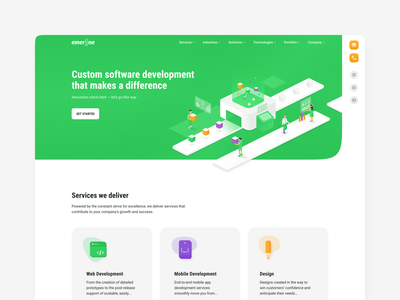 Emerline homepage ux ui emerline emerald isometric homepage webdesign web-site