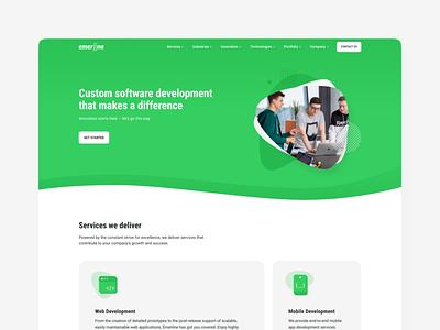Emerline homepage ux ui emerline emerald isometric homepage webdesign web-site
