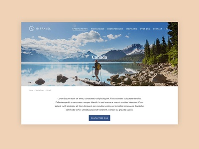 Landingpage for a travel website