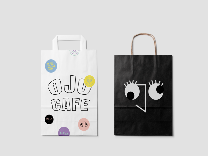 Ojo Cafe Packaging Design eyes unconventional cafe edgy logo design packaging branding ojocafe