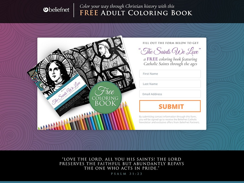 Catholic Coloring Book Landing Page by Rachel Dewing | Dribbble ...