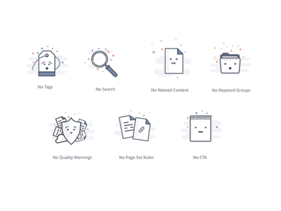 Empty States cta rules quality folder content search tag marketing application illustrations icons empty state