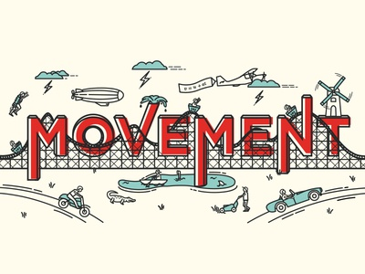 Movement Scene Illustration  scene illustrations vector objects type move movement flat design line work design rollercoaster illustration