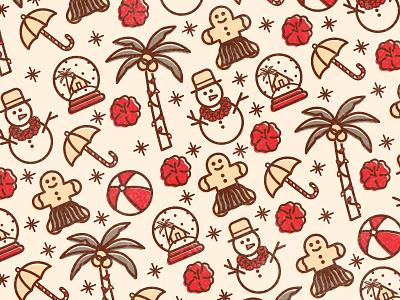 Tropical Holiday pattern hawaii snow globe snowman palm tree christmas holiday beach icons tropical vector illustration