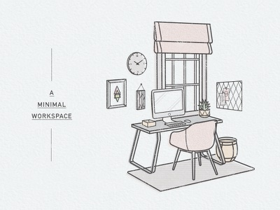 Minimal Workspace freelance minimal flat line vector icon mid century modern home office desk illustration workspace