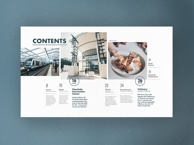 Charlotte Meeting Planners Guide - Contents grid page guide meetings table of contents contents magazine spread layout design type publication print charlotte layout