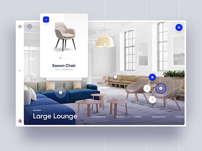 WeWork Editor website webdesign furniture editor ux interface minimal workspace interior property real estate design app web ui