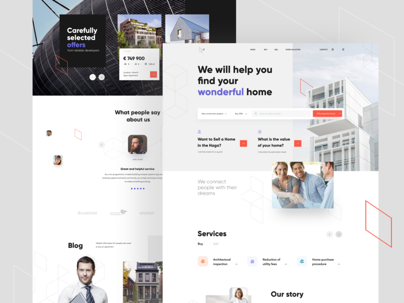 Real estate broker clean buy landing valuation sell offers developer search apartment house property broker real estate website interface ux design web ui
