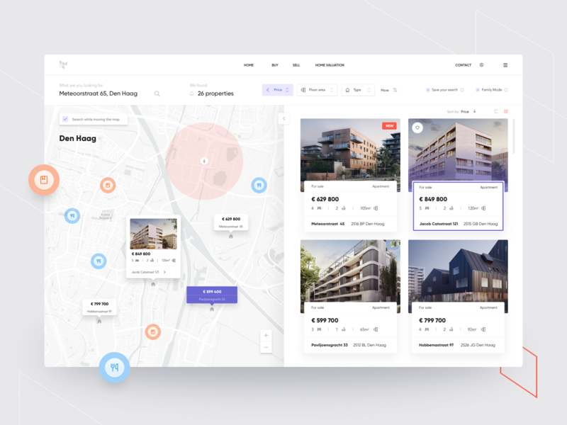 Real estate broker region map cards design offers developer sell broker interface real estate house apartment property search ux ui website web buy clean