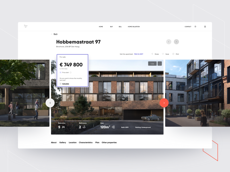 Real estate broker region offer flat search sell buy interface property developer real estate apartment broker clean website minimal ux design web ui
