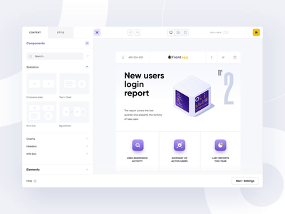 Frontegg editor animation web web design minimal editor feature saas app platform product components enterprise builder creator report saas clean interface app ux ui