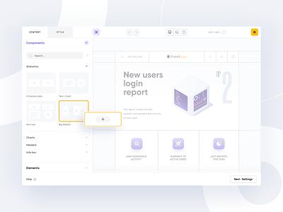 Frontegg editor animation web web design minimal editor feature saas app platform product components enterprise builder creator report saas clean interface app ux ui