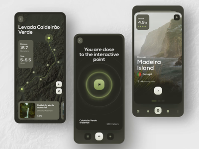 Adventure app adventure guide tourist route mobile navigation map trip reality animation trail augmented reality travel product clean interface app design ux ui