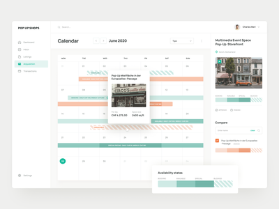 Rental calendar availability boutique shop landlord booking retail space property calendar rental platform website minimal clean interface app design ux web ui