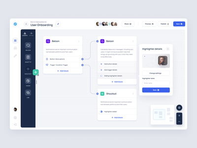 Path builder dashboard application minimal product pipeline editor builder onboarding flow path clean interface design app ux web ui