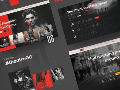 Theatre Page show calendar search tickets performance theatre visual language homepage design art direction visual responsive modular components website web ui design ux interface ui