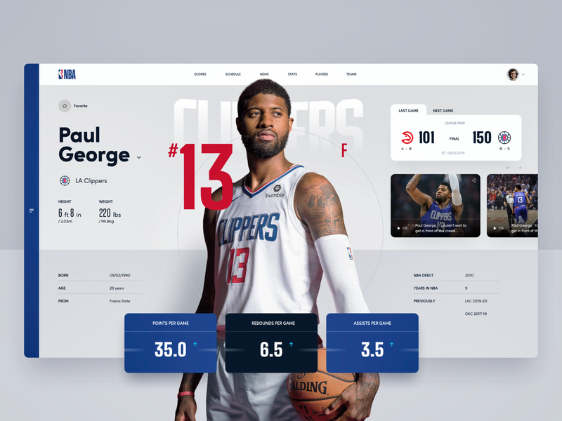 NBA Player Profile details live sports design scores webapp uiux ui ux live game stats player basketball nba team statistics profile sport design web app