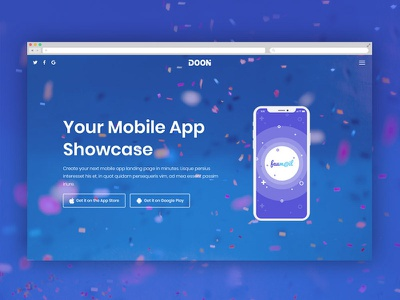 App Showcase One Page html app showcase ux ui responsive design mobile showcase app one page onepage page responsive landing page layout design website template