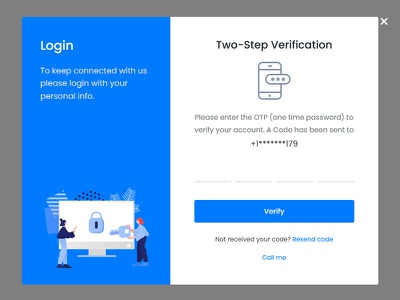 Two-Step Verification - OTP two step verification two factor authentication signin login unlock ui sucess lock 2-fa security authenticator code two-factor 2fa password otp verification code verification template