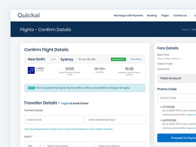 Confirm Details for Book Flight Ticket