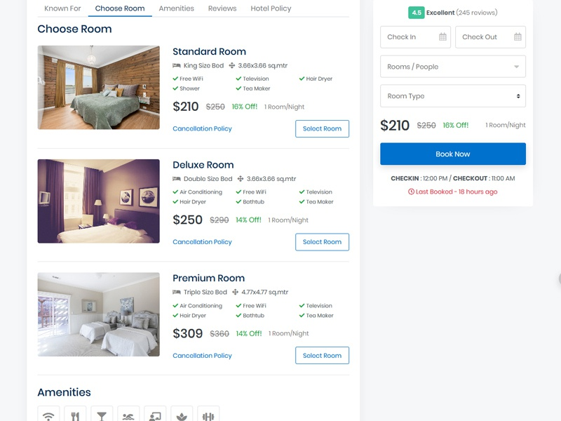 Hotel Detail page for Booking Hotel hotel policy traveller checkout checkin amenities detail page hotel hotel booking template design ui booking