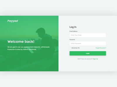 Split Screen Login Page