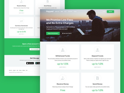 Fees (Pricing) Landing Page user interface landing page design business page currency exchange currency deposit withdrawal fund ui ux responsive website template payment online money transfer landing page pricing fees