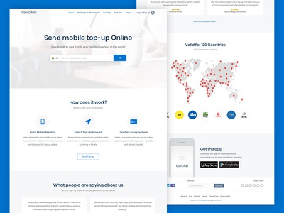 Send Mobile Top Up Online homepage topup plan recharge plan top up send mobile page recharge online topup layout web landing page ux design ui website template