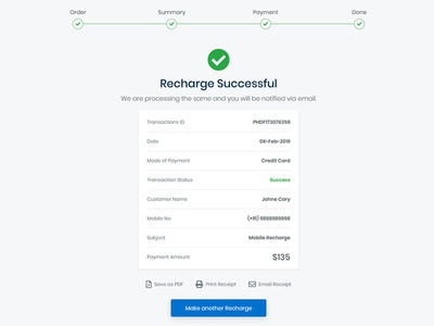 Recharge Successful complete done success details responsive page landing page layout clean ux design website ui template