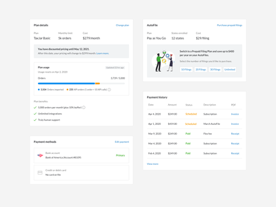Billing Components (Iteration 2) plan usage payment history sketch payment method usage payment billing app ui ux software web flat minimal clean