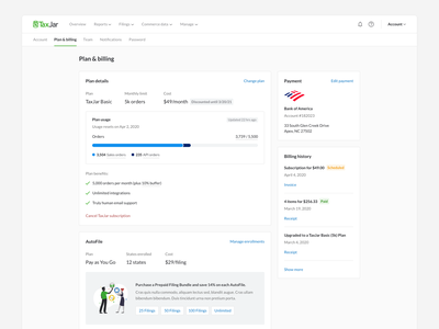 Plan & Billing Page account settings billing billing history upsell usage payments billing page web modern saas simple ux ui clean