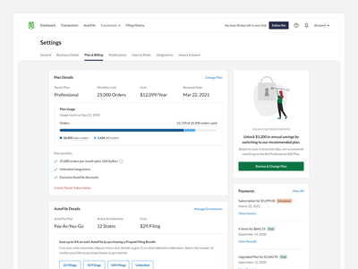 Account Settings (Plan and Billing) upsell credit card payment dashboard details saas subscription billing modern simple clean