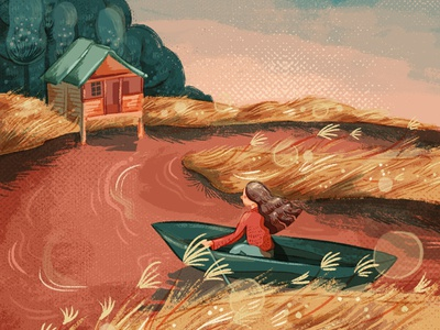 Where the Crawdads Sing boat marsh where the crawdads sing book illustration peach pink girl illustration brush