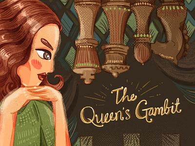 Queens Gambit chess movie illustration queens gambit girl illustration brush