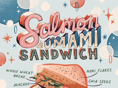 Salmon Umami Sandwich recipe salmon sandwich pink brush illustration lettering