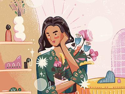 Eva Celia kebaya flowers plants cute pink girl illustration brush
