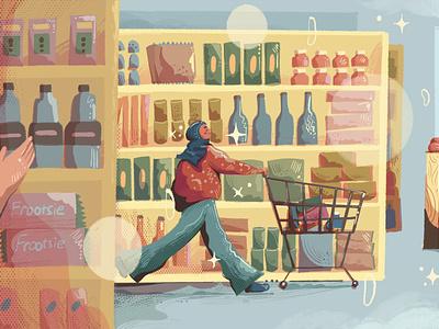 Personal Disneyland snacks cute girl brush illustration colorfull supermarket hijabi groceries