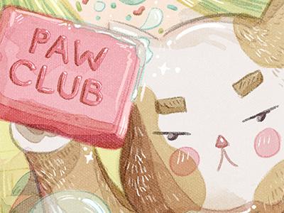 Paw Club cute soap pink grumpy cat grumpy kitty kitten cat paw fight club illustration brush