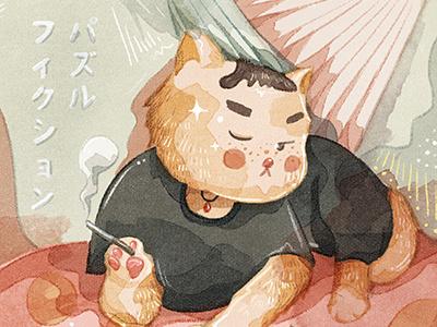 Purr Fiction pink kitty kitten grumpy cat grumpy pulp fiction cute cat brush illustration