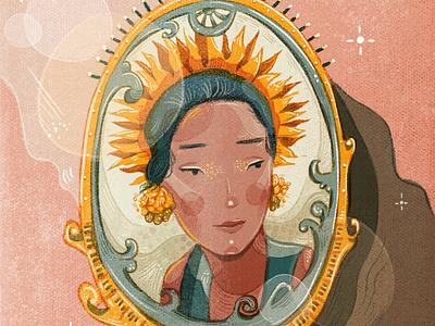 Indonesian Beauty highlight shadow beauty indonesia frame pink grain brush illustration girl