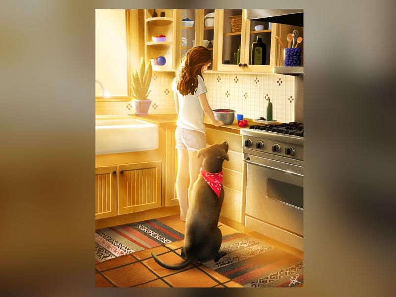 Cooking with Hank scene kitchen dog light sunlight lighting animal illustration