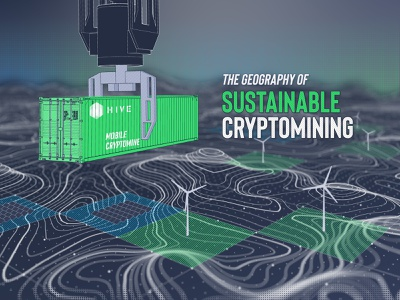 Sustainable Cryptomining Infographic Header digitial cargo sustainable map relief contours geology cryptocurrency blockchain crypto
