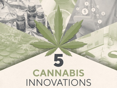 5 Cannabis Innovations Infographic Header infographic design cbd thc oils innovation finance pot marijuana weed cannabis infographic