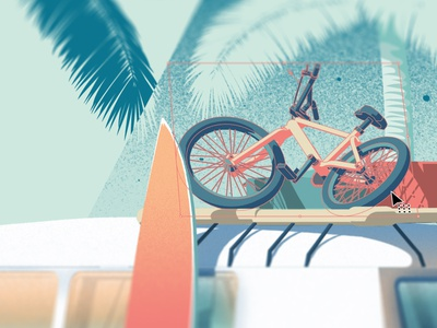 VW Type 2 Illustration Working Close Up 2 costa rica tamarindo tree palm surfboard surf bmx bike van beach