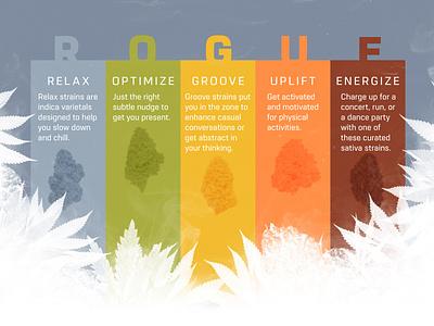 R O G U E grow rogue grow bud leafs adobe advertise infographic graphic product strains cannabis weed marijuana