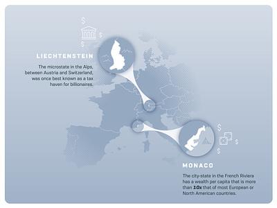 Liechtenstein & Monaco infographic design halftone callout line icon liechtenstein monaco europe map infographic