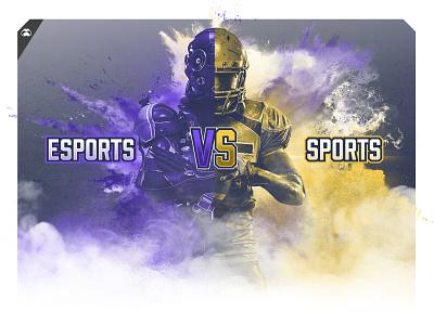ESPORTS VS SPORTS infographic header esports logo gaming competative industry infographic fog nfl fortnight dota esports