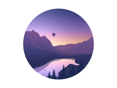 Mountain Time reflection sunset landscape trees boat hot air balloon lake mountain